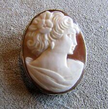 Vintage 800 Silver Cameo Pendant Brooch