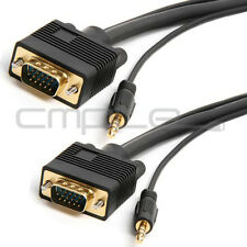 SVGA Super HD15 VGA Cable with Audio 3.5mm Stereo M/M Gold Plated 3 FT