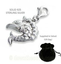 Silver Fish Charm - Solid 925 Sterling Silver Charm in Gift Bag - Lobster Clasp