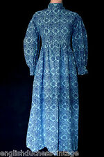VINTAGE LAURA ASHLEY WELSH BLUE FLORAL MANDALAS MAXI BOHEMIAN BEAUTY DRESS,10-12