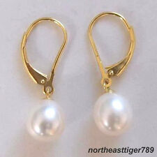 Real 8-9mm White Pearl 18KGP Leverback Hook Earrings