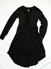 new NEXT BNWT Ladies black jersey stretch knee tunic dress bow detail size 10/12