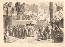 Istanbul street Catholic procession Corpus Christi Turkey GRAVURE OLD PRINT 1865