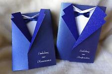 * Einladungskarten Einladung zur Kommunion Konfirmation Sakko blau + Umschlag