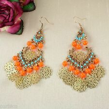 E14 Orange and Turquoise Bead Boho Ethnic Chandelier Teardrop Hook Earrings