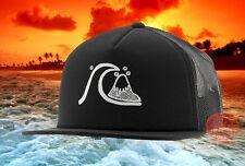 New Quiksilver Black The Trucker Trucker Mesh Mens Snapback Mesh Cap Hat