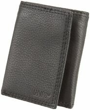 NEW LEVI'S LEATHER ZIPPER COIN TRIFOLD ID CREDIT CARD WALLET BLACK 31LV1147