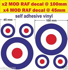 6 la Cible RAF Cocarde qui cible MOD Scooter Stickers Autocollants VW Van Voiture Vespa