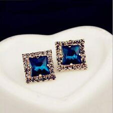Golded Square Swarovski Elements Crystal Blue Clear Stud Earrings Gift Box P15