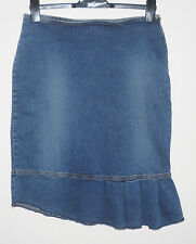 Per Una Stretch Blue Denim Asymmetric Pleated Hem Skirt 12 UK