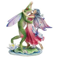 "8.25"" Fairy Dancing w/ Frog Prince Statue Figure Figurine Home Fantasy Decor"
