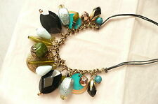 GOLD NECKLACE _JET BLACK, TURQUOISE & GREEN BEADS_GOLD DETAILS - BRAND NEW