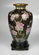 Cloisonne Vase auf Holzsockel schwarz Hoehe ca 12 cm Emaille emailliert  neu