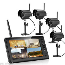 """Wireless 2.4G 4CH Quad DVR 4 Camera with 7""""TFT LCD Monitor Home Security System"""