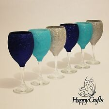 Top bicchieri da vino Glitter Set di 6 DARK LIGHT BLUE & SILVER