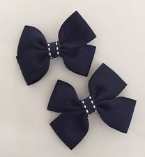 2 Packs Of Navy Blue Big Bow Hair Clips/aligator Clip/schools Uniform