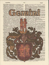 Zodiac Sign Gemini Astrology Altered Art Print Upcycled Vintage Dictionary Page