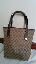 Authentic GUCCI GG Pattern Canvas, Leather Browns Beige Shoulder Bag