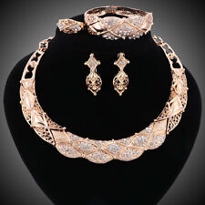Women Gold Plated Crystal Africa Dubai Wedding Party Necklace Bangle Jewelry Set