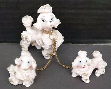 Vtg 1950s PINK POODLE Hand Painted Porcelain Spaghetti Figurine - Dog & Puppies