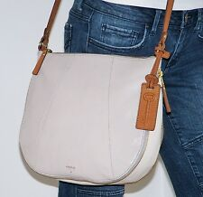NWT Fossil Sm Gwen Gray White Tan Leather Expandable Hobo Shoulder Bag Crossbody