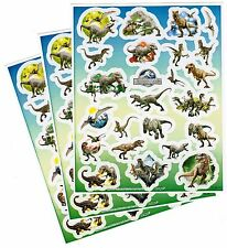 3 Sheets Jurassic World DINOSAUR Stickers Raptor T-Rex