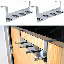 2 x PREMIUM MIRROR CHROME OVER DOOR HANGER RACKS Hat+Coat Clothes Hook Rails