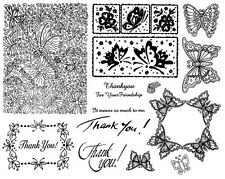 Unmounted Rubber Stamp Sheets, Butterfly, Butterfly Background, Thank You, Frame