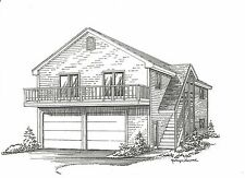 28 x 44 2 Car Garage Building Plans w/ 2nd Floor Open Loft Area & Exterior Stair