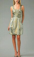 Diane Von Furstenberg Metallic Silver Gold Snakeskin Print Ruched Mini Dress 4