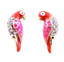 Vintage retro style enamel crystal parrot charm earrings