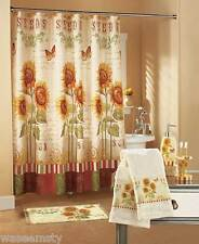 Country Yellow Sunflower Floral Butterfly Shower Curtain Hook Complete Bath Set