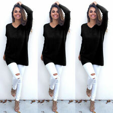 New UK Women V-Neck Chunky Knitted Oversized Baggy Sweater Jumper Tops Blouse