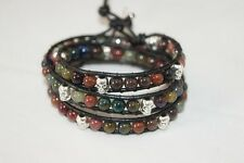 Agate Triple Wrap Leather Gemstone Bracelet With Silver Skull Accents NEW