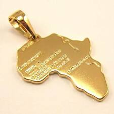 "AFRICA MAP REAL MYSTERIOUS 18K YELLOW GOLD GP 1.73"" PENDANT SOLID FILL GEP GIFT"