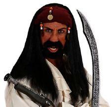Pirates of the Caribbean Wig Jack Sparrow Fancy Dress Mens Brown Wig w/ Bandana