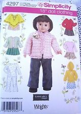 "4297 SEWING PATTERN~UNCUT~FITS 18""DOLL~AMERICAN GIRL~DOLL  CLOTHES:PONCHO&JKT++"