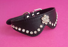 SMALL GEM BLACK POSH DOG COLLAR CHIHUAHUA YORKIE JACK PUG MALTESE 26cm-31cm