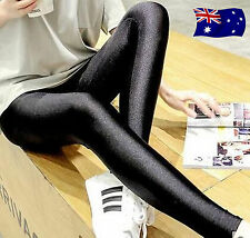 Woman lady Leather Look Shine Glossy Stretch slim Leggings Jeggings black pants