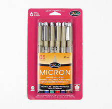 SAKURA MICRON PIGMA FINE ARCHIVAL COLOR SET 6 PEN .45mm WATERPROOF 50065 30065