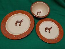 Marble Canyon mule donkey enamelware 3 pc. place setting dinner salad plate bowl