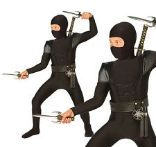 Childrens Black Ninja Fancy Dress Costume Samurai Warrior Outfit Childs Kids S