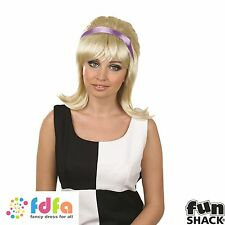 BLONDE FLICKED GROOVY HIPPIE BEEHIVE WIG WITH RIBBON ladies fancy dress costume