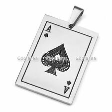 MENS WOMENS Stainless Steel Dog Tag Poker Playing Cards Spade A Pendant Necklace
