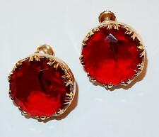 VINTAGE ACCESSOCRAFT NYC ROUND RED GLASS RHINESTONES GOLDTONE SCREWBACK EARRINGS