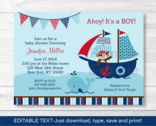 Pirate Monkey Nautical Whale Printable Baby Shower Invitation Editable PDF