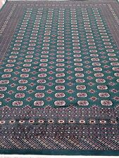 9x12 Hand knotted oriental rug Emerald Green 100% Wool Pile Bokhara/Cotton Base.