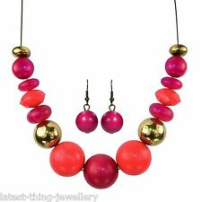 Coral Pink Necklace Earring Set Gold Magenta Chunky Bead Design