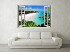 Beach Scene 1 3D Full Colour Window Home Wall Art Stickers Mural Decal