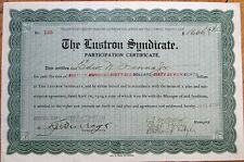 Oil 1917 Stock Certificate: 'The Lustron Syndicate' Participation Certificate
